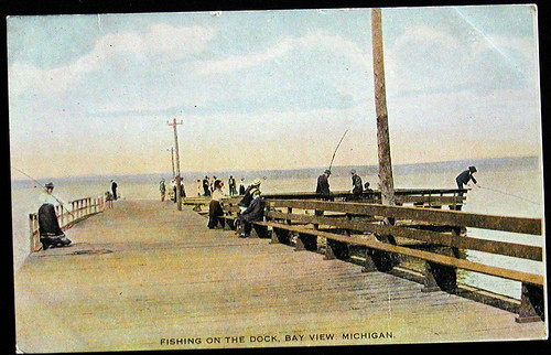 Petoskey mi bay view pier fishing card petosky mi bay for Harrison fishing pier
