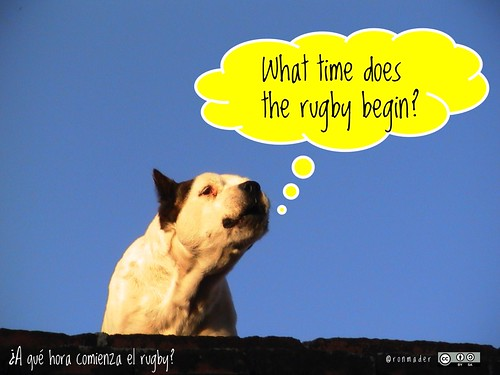 What time does the rugby begin? = ¿A qué hora comienza el rugby? #roofdog