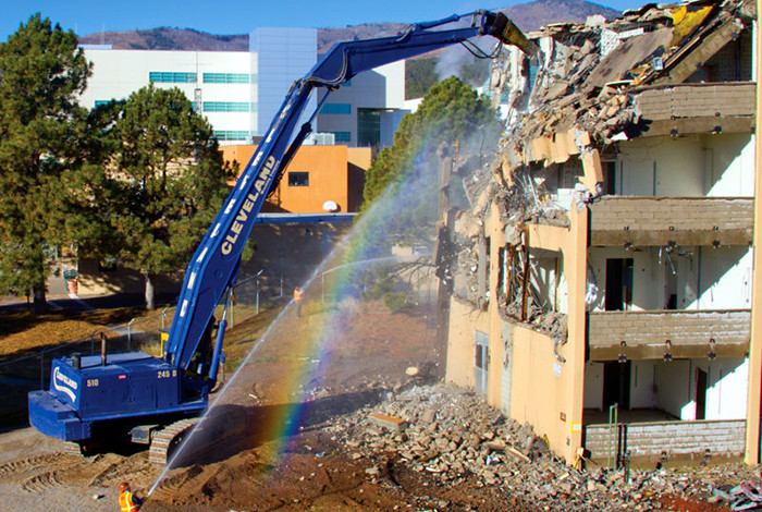 Projects abound at Los Alamos National Laboratory. Pictured, an administration building is demolished in 2011.