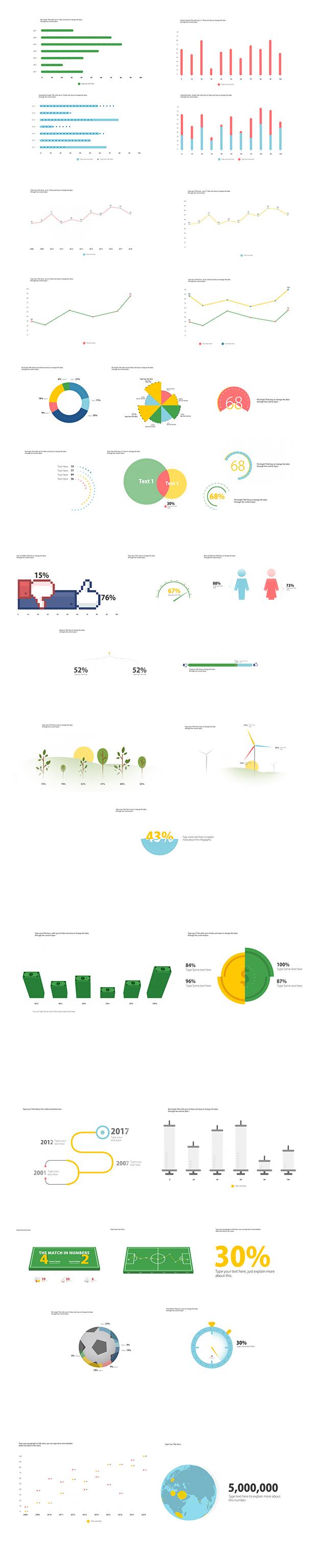 AE模板 简洁图表信息图柱状饼状条形图MG动画