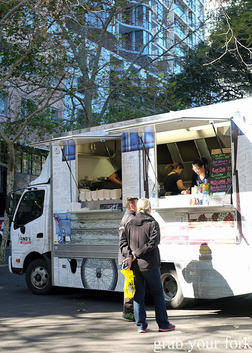 Customers lining up at Yang's Malaysian Food Truck in Sydney