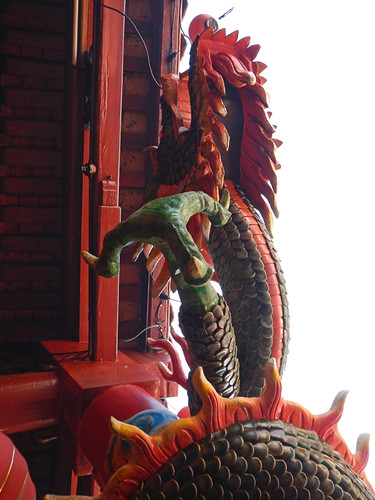 A red dragon in a Singapore temple