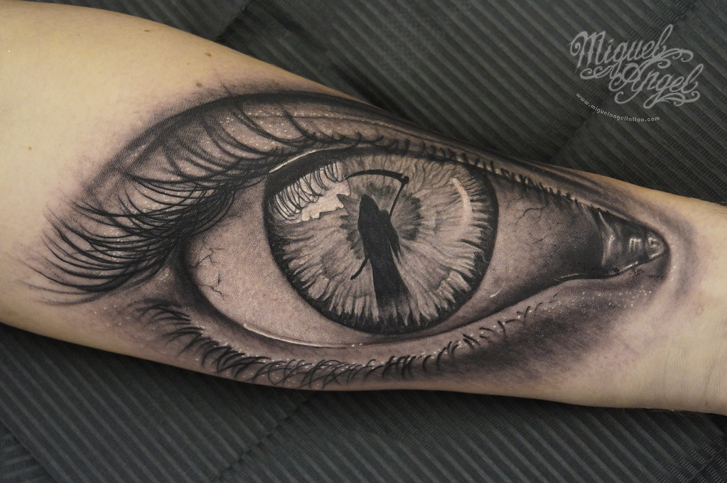 eye with grim reaper tattoo miguel angel custom tattoo art flickr. Black Bedroom Furniture Sets. Home Design Ideas