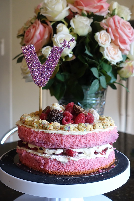 Birthday Cake For Sister Pink Sponge With Morello Cherries And