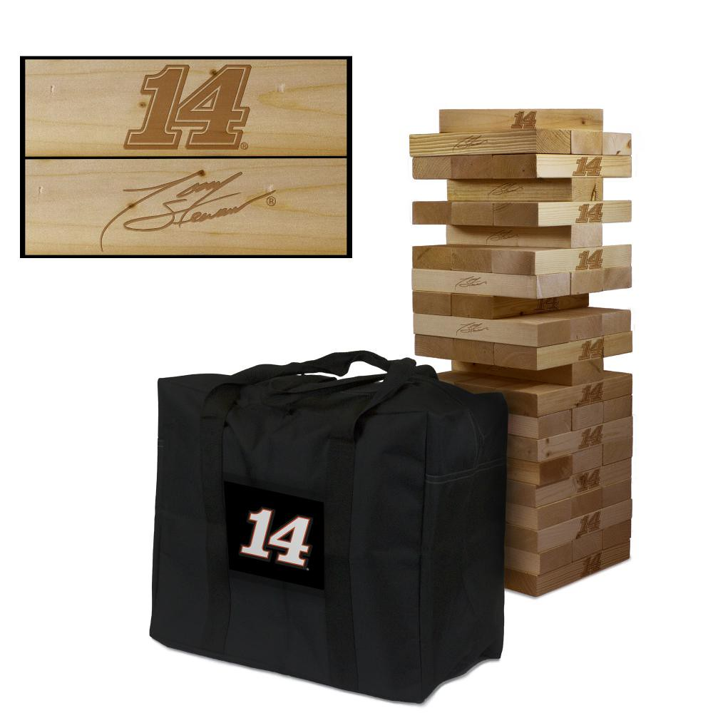 TONY STEWART #14 Wooden Stained Tumble Tower Game