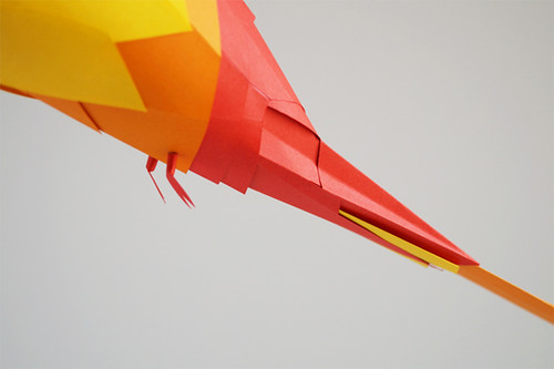 Yellow Rosella Paper Sculpture by Marine Coutroutsios - Detail