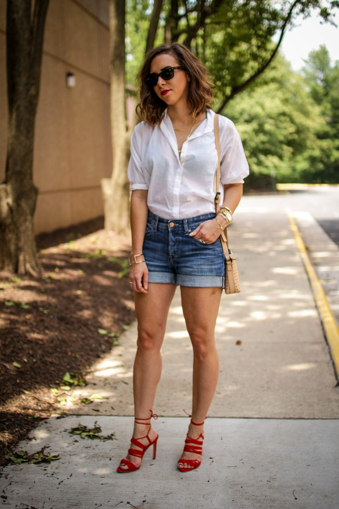lace up heels. denim jean shorts. casual summer outfit.