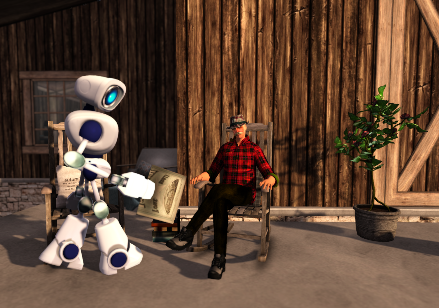 A robot and his mature human friend