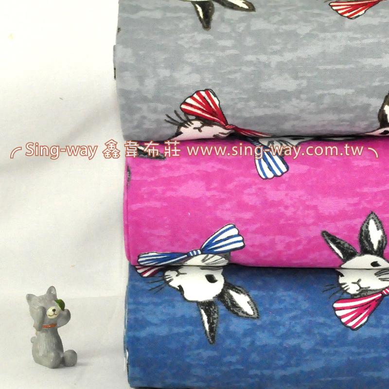 三月兔 可愛動物 領結白兔 手工藝DIy拼布布料 CF550545