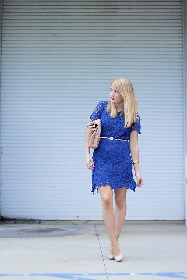chicwish blue lace dress