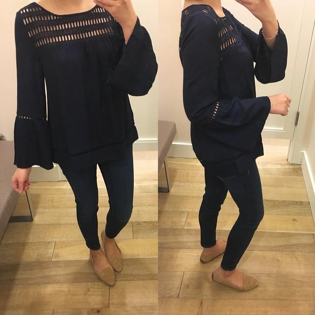 LOFT Lacy Bell Sleeve Blouse, size XS regular
