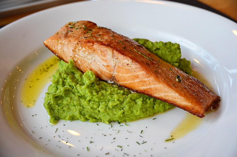 Salmon and mushy peas, Bordebaker Lodge, Patagonia, Chile