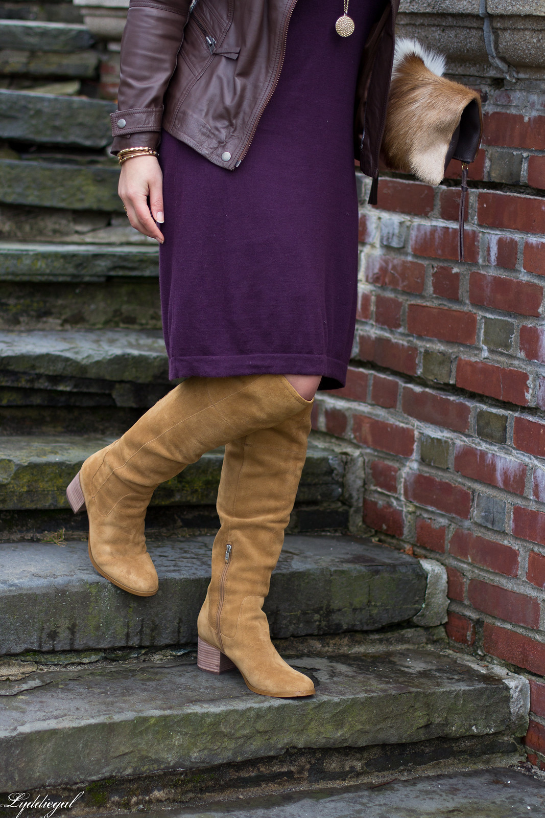 maroon sweater dress, tan over the knee boots, springbok clutch-6.jpg