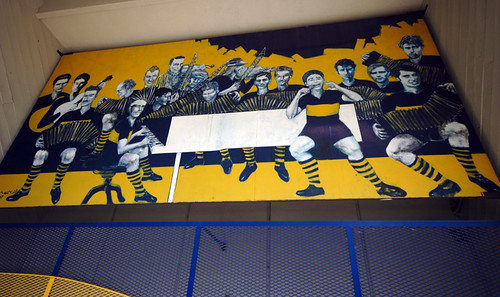 Mural on the wall of the Boca Juniors Stadium in La Boca, Buenos Aires, Argentina