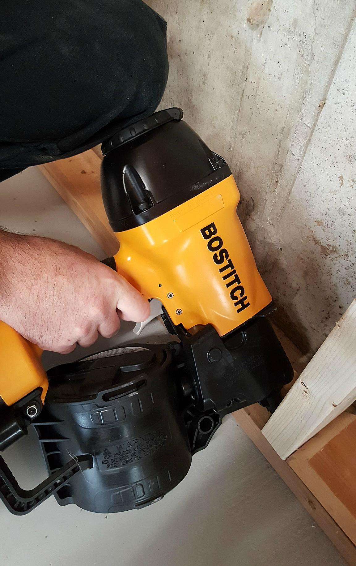 basement framing and spray foam insulation framing nailer Bostitch