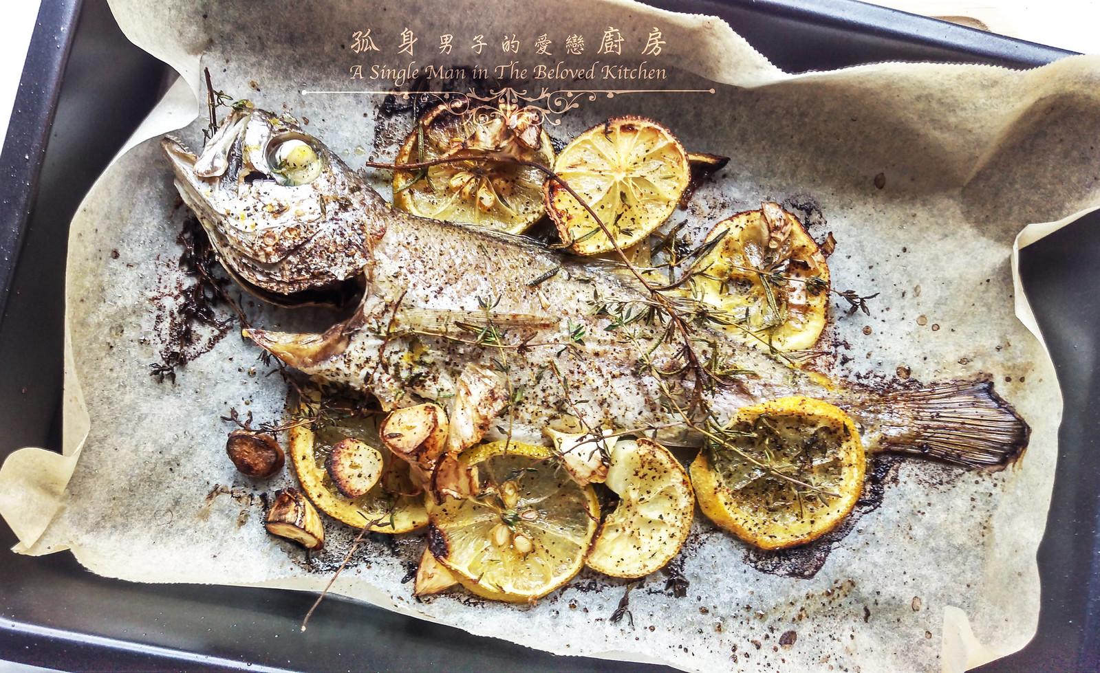 孤身廚房-地中海風味烤黑喉魚佐鑄鐵烤盤烤蔬菜10