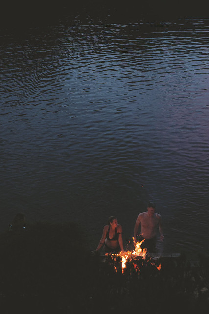 lakeside bonfire