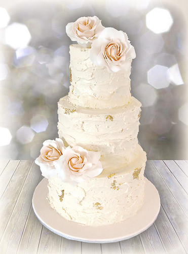'Rustic Rose with a hint of Gold' wedding cake | by Cute Sweet Thing