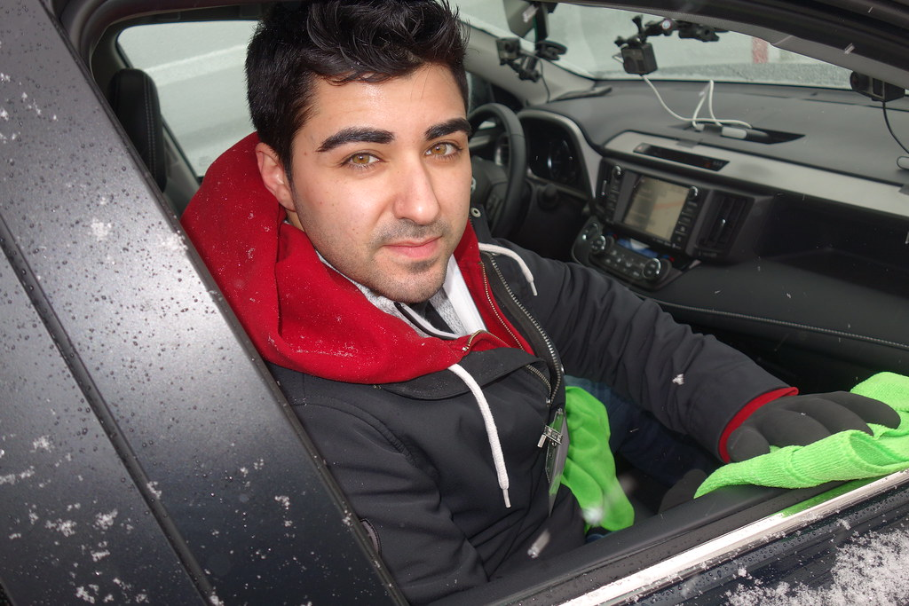 Justin from Autoscrubs - Pickering Ajax car detailing, cleans the car interior, Jan 2017