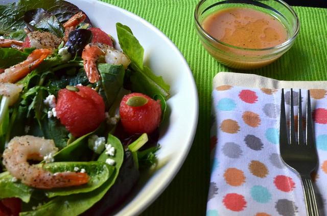 Summer Shrimp Salad w/ Watermelon Champagne Vinaigrette