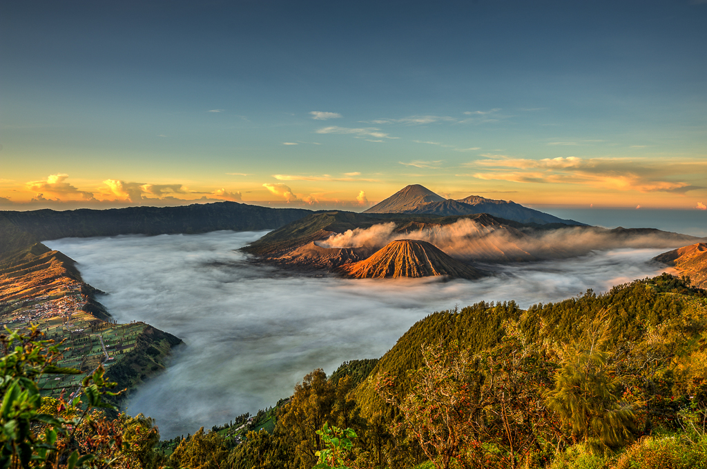 Three Volcanoes - Mt. Bromo, Mt. Batok and Mt. Semeru