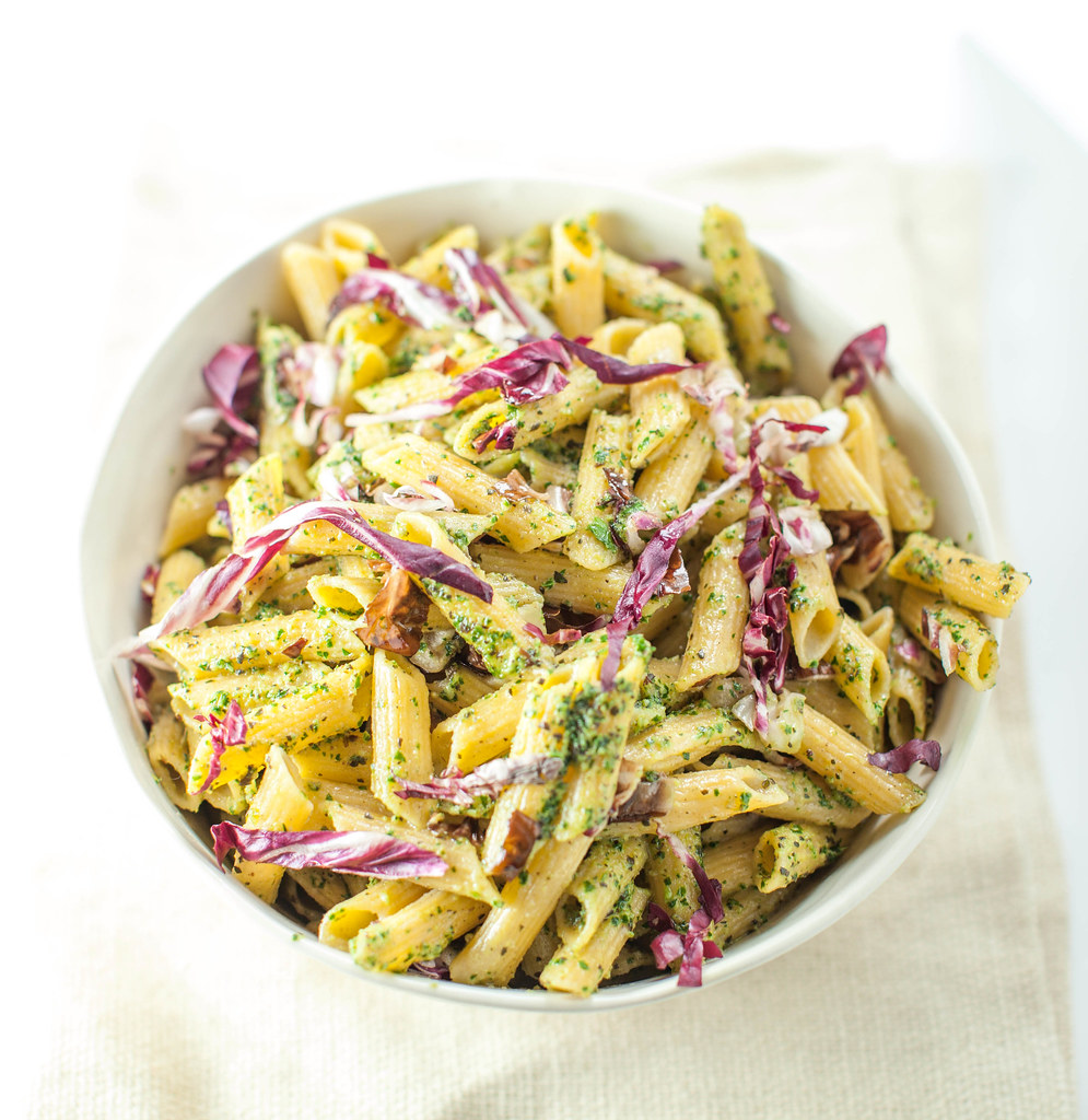 walnut and marjoram pesto with radicchio
