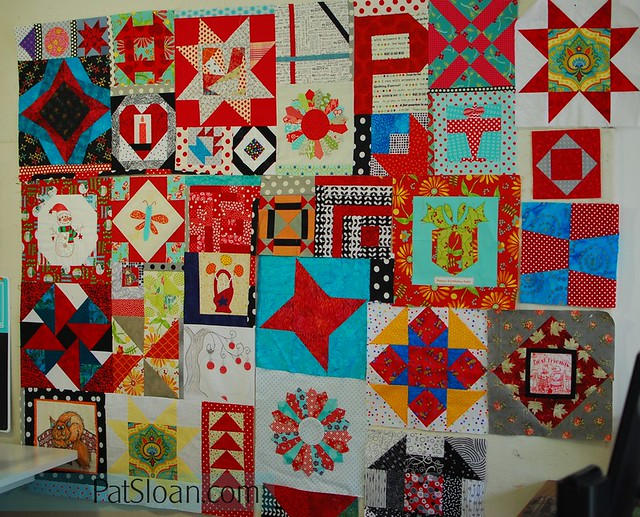 pat sloan birthday block quilt back making3
