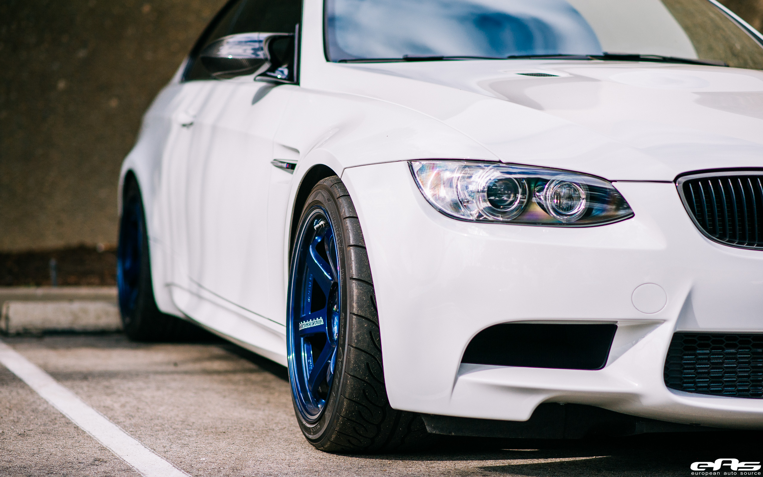 Alpine White E92 M3 Volk Racing Mag Blue Te37rt Bmw