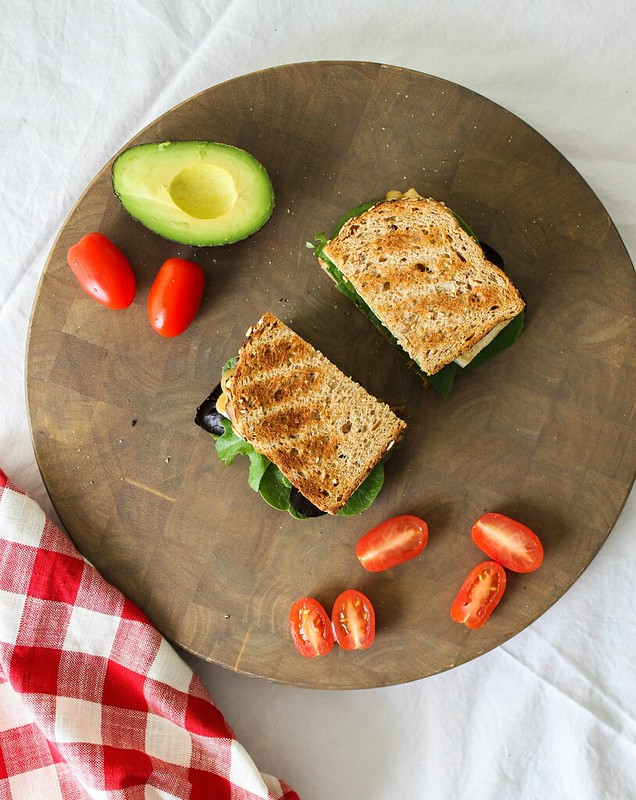 AVOCADO-TOFU SANDWICH + CARAMELIZED ONIONS