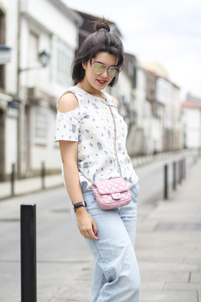 tendencia hombros al aire, gafas de espejo y culotte denim myblueberrynightsblog