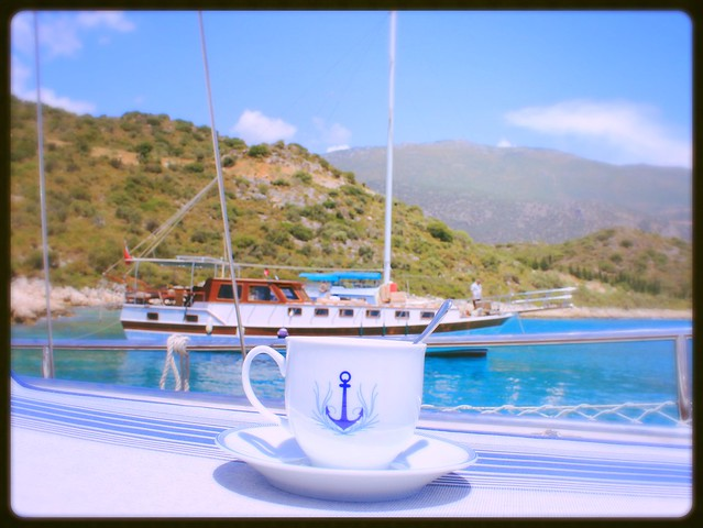 Turkish tea on a yacht