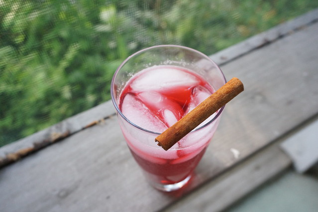 An overhead shot of a glass of grown-up fruit punch on a porch rail, with a cinnamon stick perched on the rim