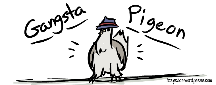 fancy pigeon in gangster hat