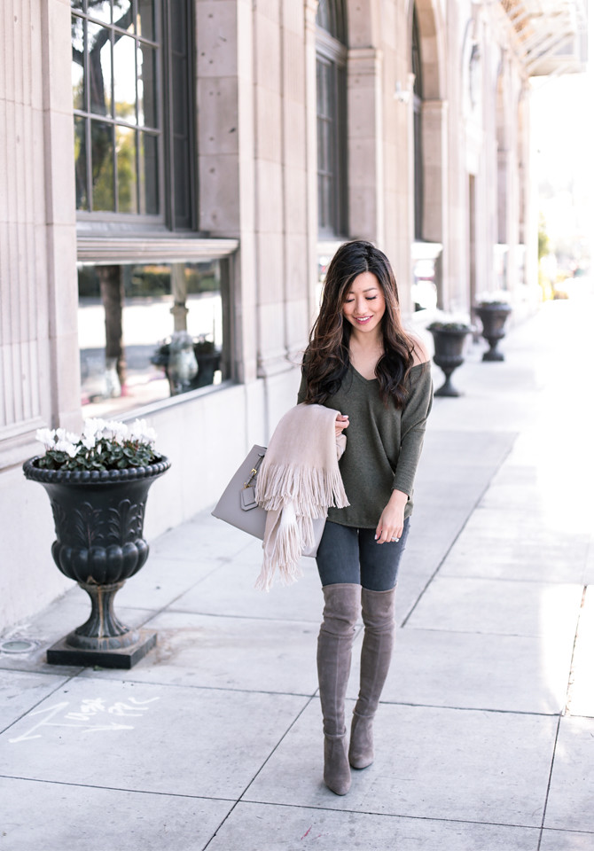 tunic shirt over the knee boots outfit petite fashion blog
