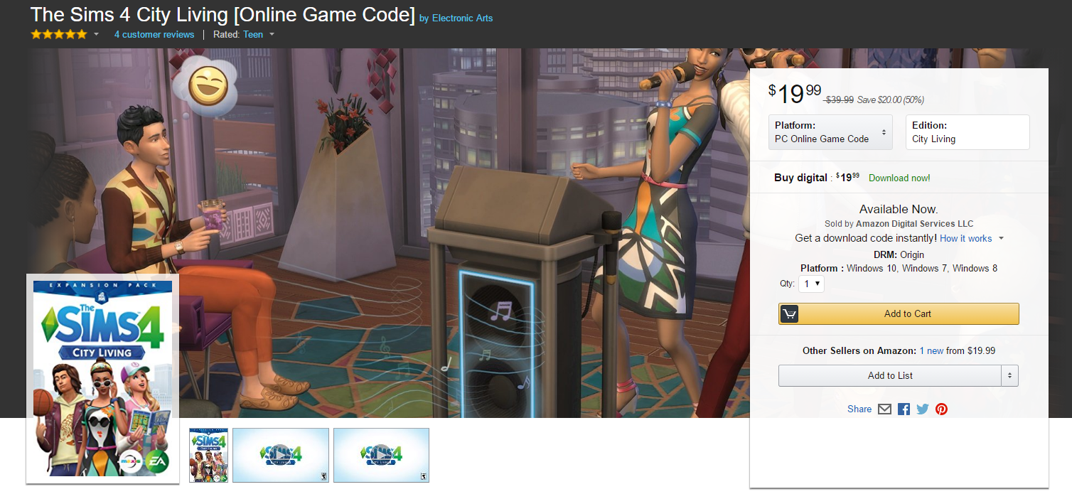 Amazon Sale: Purchase The Sims 4 City Living For $20 | SimsVIP