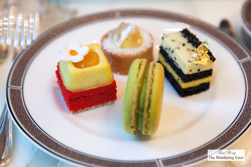 Desserts - Sencha green tea macaron; Black sesame entremet, banana Cream, vanilla mouss; Roasted Pineapple tart, coconut custard, rice tuile; Ginger tea cake, orange cremeux, mandarin gel