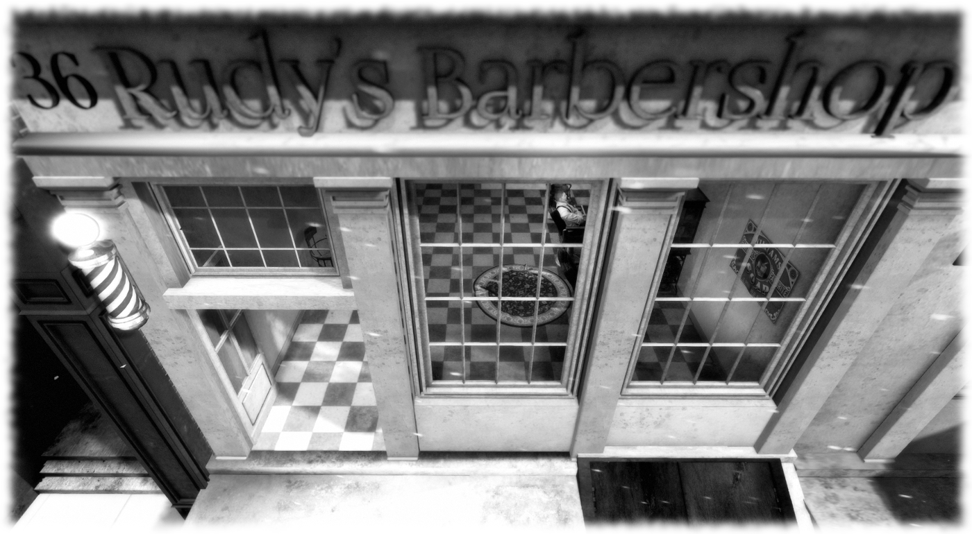 The barbershop in black and white