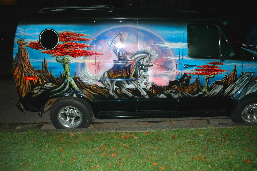 Car Painted On Side Of Van