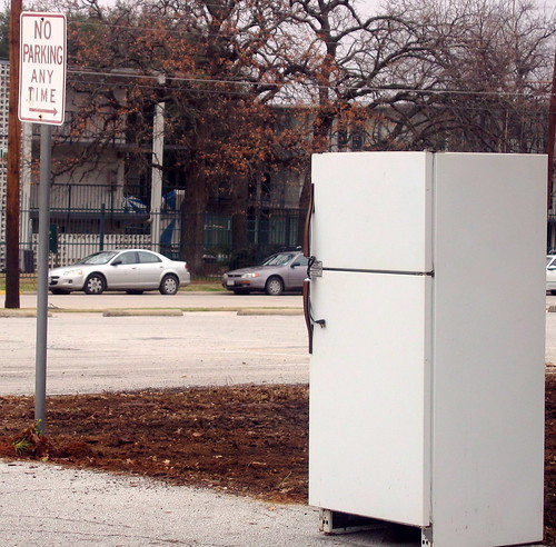 Refrigerator in a parking lot. | by Rich Anderson