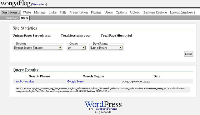 Search Result   I get a fair few obscure google search resul