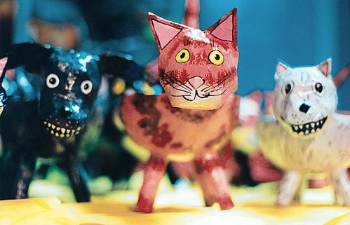 papermache cat and dog bowls | by patti haskins