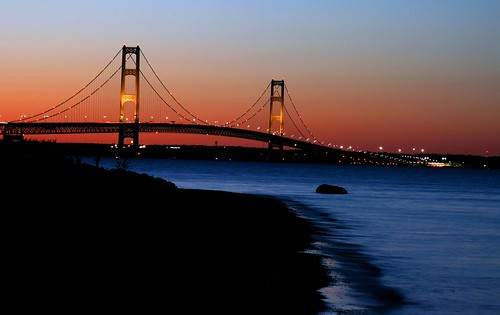 Mackinac Bridge all lit up at dusk | by JohnnyRR