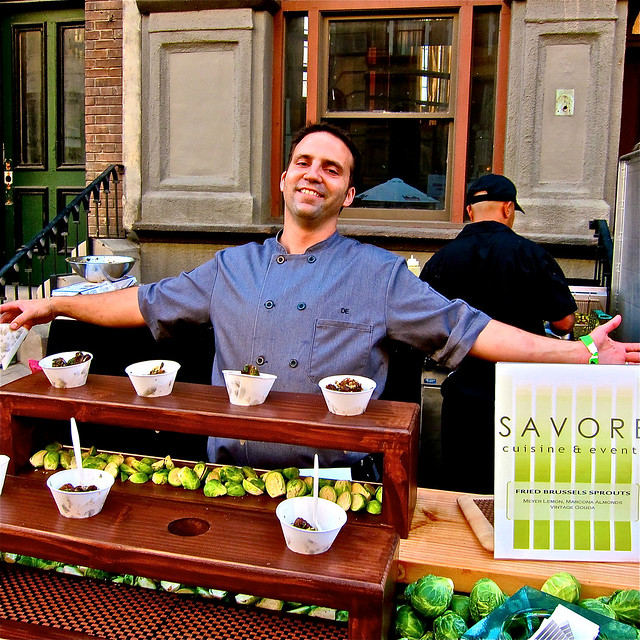 Savore's Danny Elkins served fried brussel sprouts