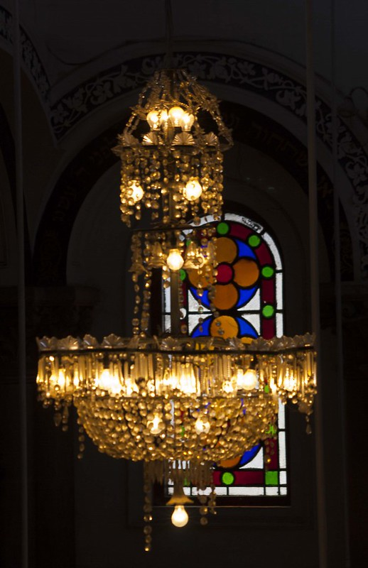 Chandelier and Painted Glass Window in Magen David Synagogue - Kolkata, India