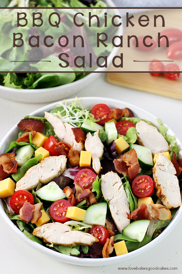 This BBQ Chicken Bacon Ranch Salad is a quick and delicious dinner idea! This recipe is so awesome! #12bloggers