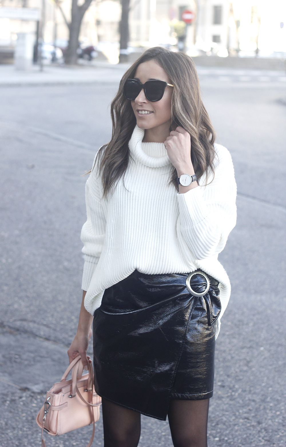 Black Patent leather skirt white sweater coach bag heels outfit style fashion winter19
