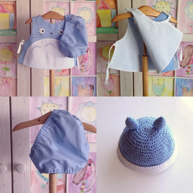 blue totoro 3 piece set newborn