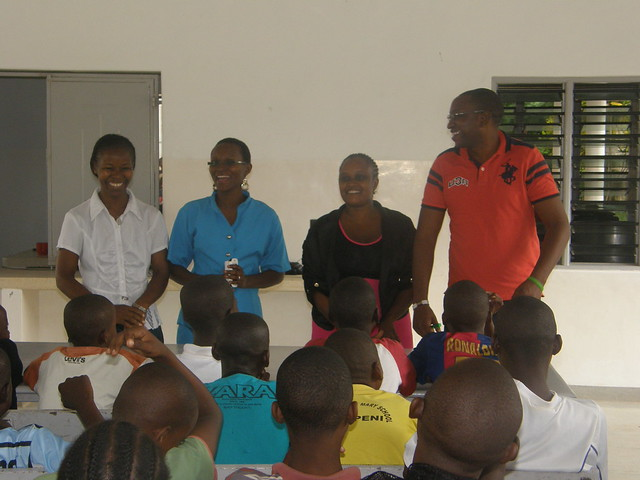 Lucy, Dorcas, Teacher Paula & Teacher Joe lead the session
