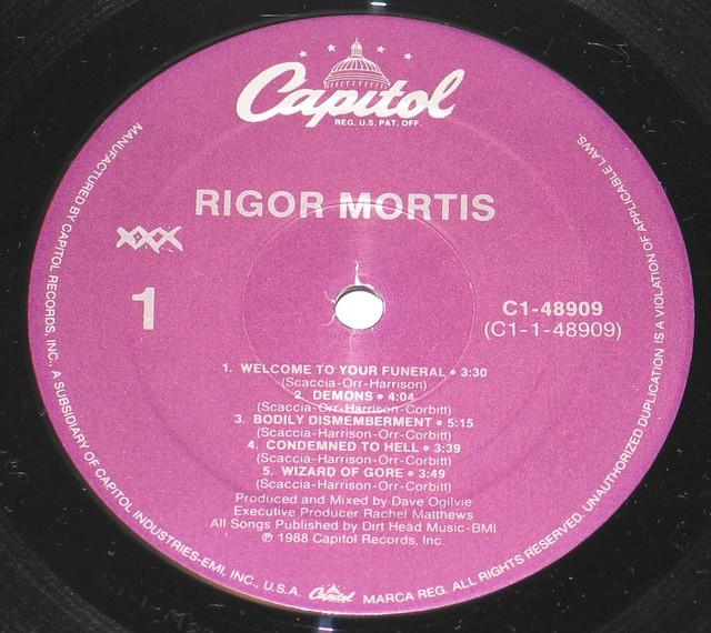 """Rigor Mortis Rigor Mortis self-titled 12"""" vinyl LP"""