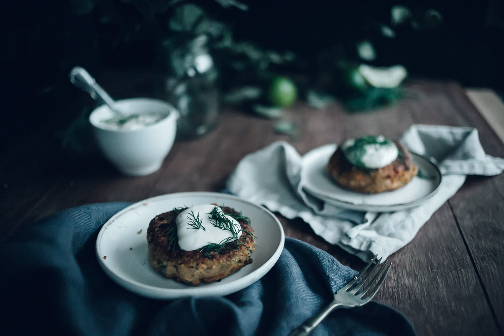 Quinoa Salmon Fish Cakes with Ginger & Roasted Sweet Potato